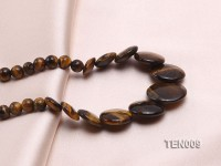 6mm Tiger Eye Beads and Button-shaped Tiger Eye Pieces Necklace