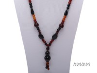 8.5mm multicolor and several shapes agate necklace