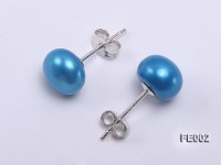 8.5mm Blue Flat Cultured Freshwater Pearl Earrings