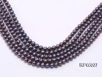 Wholesale 7.5-8.5mm Purplish Black Round Freshwater Pearl String