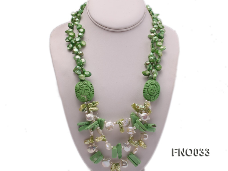 8x12mm white irregular pearl and green biwa pearl and turquoise opera necklace