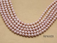 Wholesale AAA-grade 10-11mm Pink Round Freshwater Pearl String