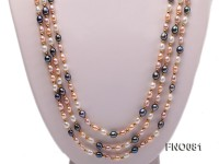5-6mm multicolor oval freshwater pearl opera necklace