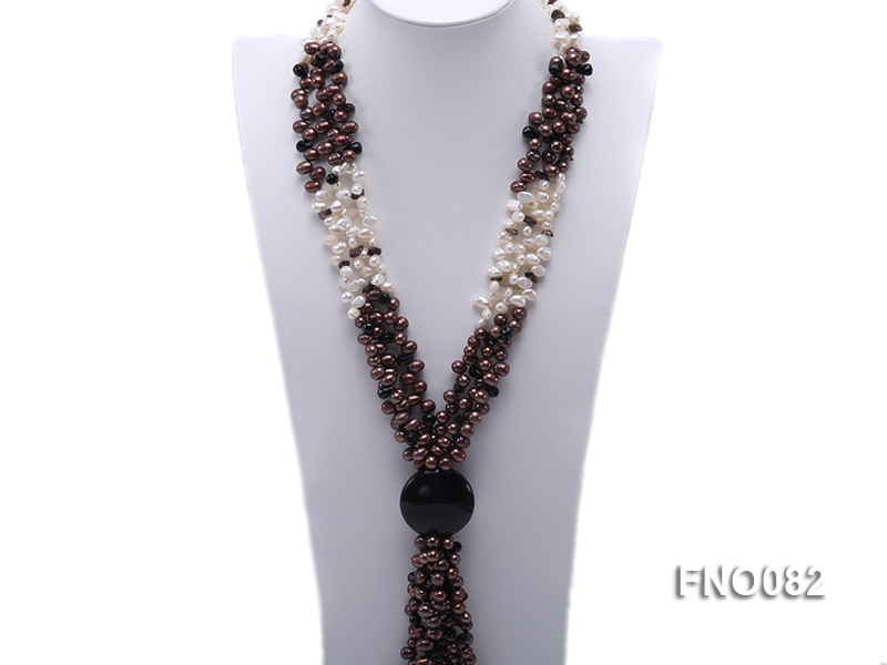 7x9mm white and brown oval freshwater pearl and black agate three-strand necklace