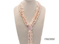 7x9mm white and pink flat freshwater and rose quartz three-strand necklace