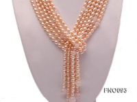 6x8mm Pink Oval Freshwater Pearl and Rose Quartz Three-Strand Necklace