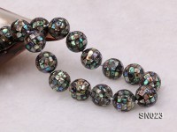15.5mm Round Colorful Abalone Shell Beads Necklace