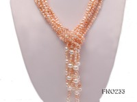 2-3mm light purple flat pearl and white oval pearl  five-strand necklace