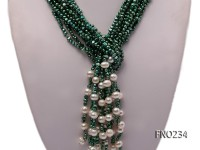 4-5mm green flat pearl five-strand necklace