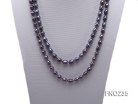 7-8mm black oval pearl opera necklace
