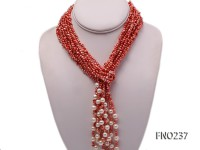 4-5mm red flat freshwater pearl five-strand necklace