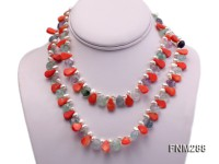 2 strand freshwater pearl and coral and fluorite necklace
