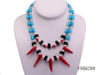 2 strand white freshwater pearl,turquoise and coral necklace