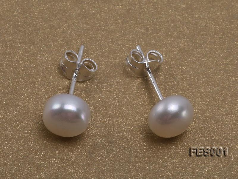 6mm White Flat Cultured Freshwater Pearl Earrings