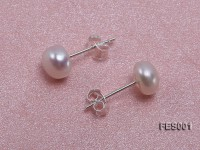 6mm White Flat Cultured Freshwater Pearl Earrings