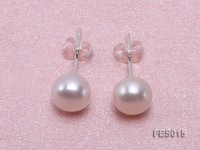 7.5mm White Flat Cultured Freshwater Pearl Earrings