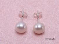 7.5mm White Flat Cultured Freshwater Pearl Earrings