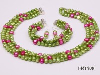 Tree-strand Green and Aubergine Freshwater Pearl Necklace, Bracelet and Earrings Set