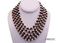 5 Strand White Freshwater Pearl and Tiger-eye Stone Necklace with Sterling Sliver Clasp