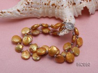 2 strands yellow button freshwater pearl bracelet