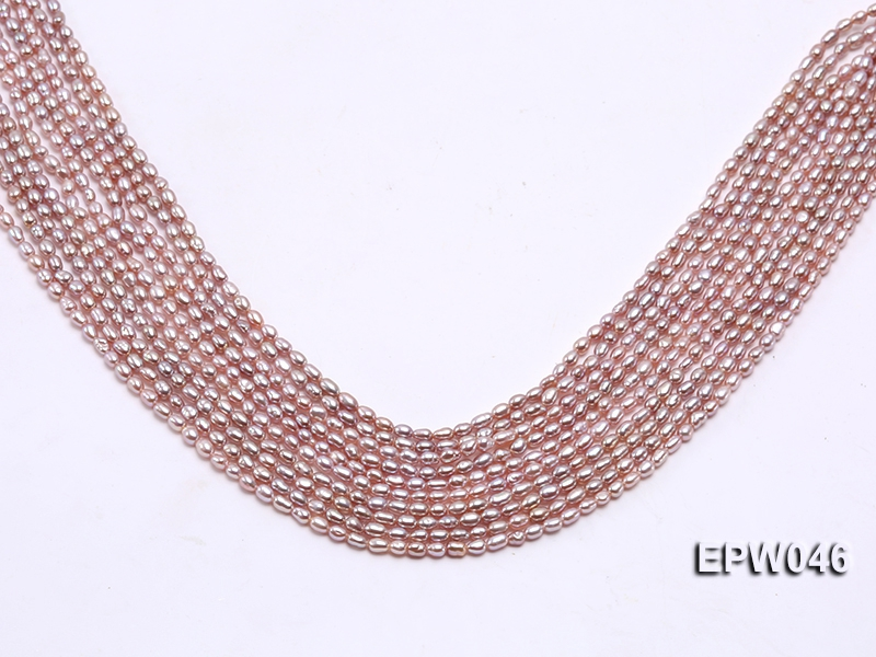 Wholesale Charming 3x4mm Natural Lavender Rice-shaped Freshwater Pearl String