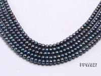 Wholesale 7.5X10mm Black Flat Cultured Freshwater Pearl String