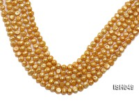 Wholesale 6x8mm Golden Falt Freshwater Pearl String