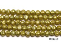 Wholesale 7x9mm Green Flat Freshwater Pearl String