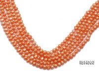 Wholesale 7x9mm Orange Flat Cultured Freshwater Pearl String