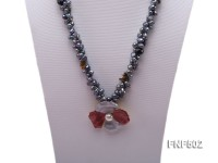 Two-strand Grey Freshwater Pearl, Black Agate Beads, Tiger-eye Chips and Metal Flower Necklace