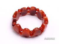 6mm red round and flat agate bracelet