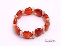 6mm red round and heart shape agate bracelet