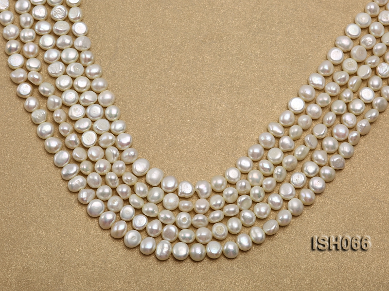 Wholesale 7x8mm Classic White Flat Freshwater Pearl String