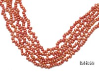 Wholesale 5x6mm Orangered Side-drilled Cultured Freshwater Pearl String