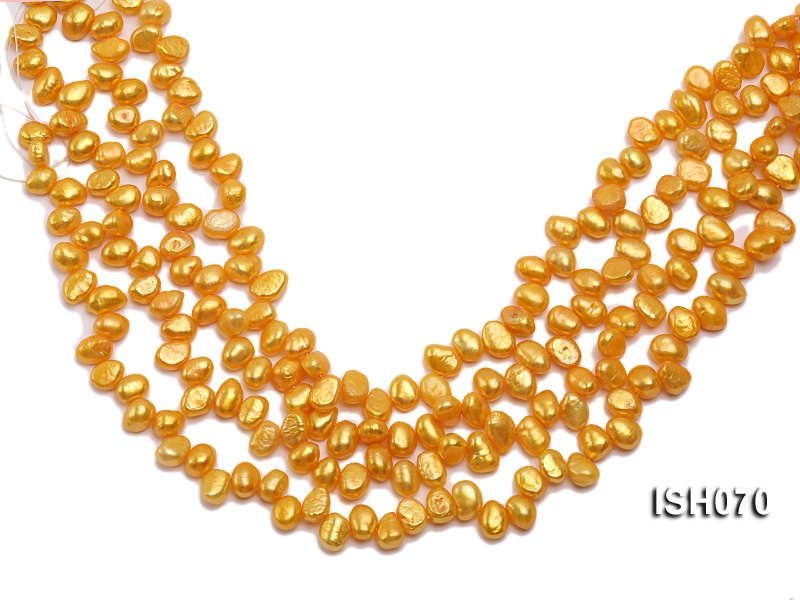 Wholesale 7x8mm Yellow Side-drilled Cultured Freshwater Pearl String
