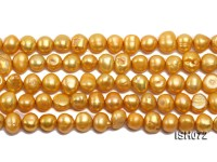 Wholesale 7x9mm Yellow Side-drilled Cultured Freshwater Pearl String