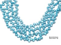 Wholesale 6x8mm Sky Blue Side-drilled Cultured Freshwater Pearl String