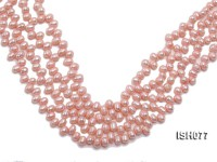 Wholesale 6x7mm Pink Side-drilled Cultured Freshwater Pearl String