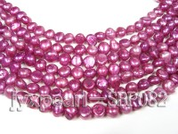 Wholesale 6-8mm Red Violet Flat Cultured Freshwater Pearl String