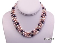 3 strand colorful oval freshwater pearl necklace with sterling sliver clasp