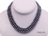 3 strand 6-7mm black round freshwater pearl necklace