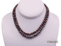 2 strand 6-7mm amaranth round freshwater pearl necklace
