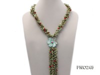 5x9mm green irregular regenerated pearl three strands necklace