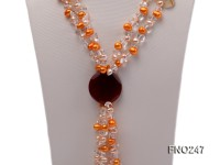 8x10mm yellow oval pearl and crystal and agate necklace