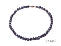 Glamorous Single-strand 8-9mm Puce Round Freshwater Pearl Necklace