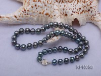 8-9mm Purplish Black Round Freshwater Pearl Necklace with Sterling Silver Clasp