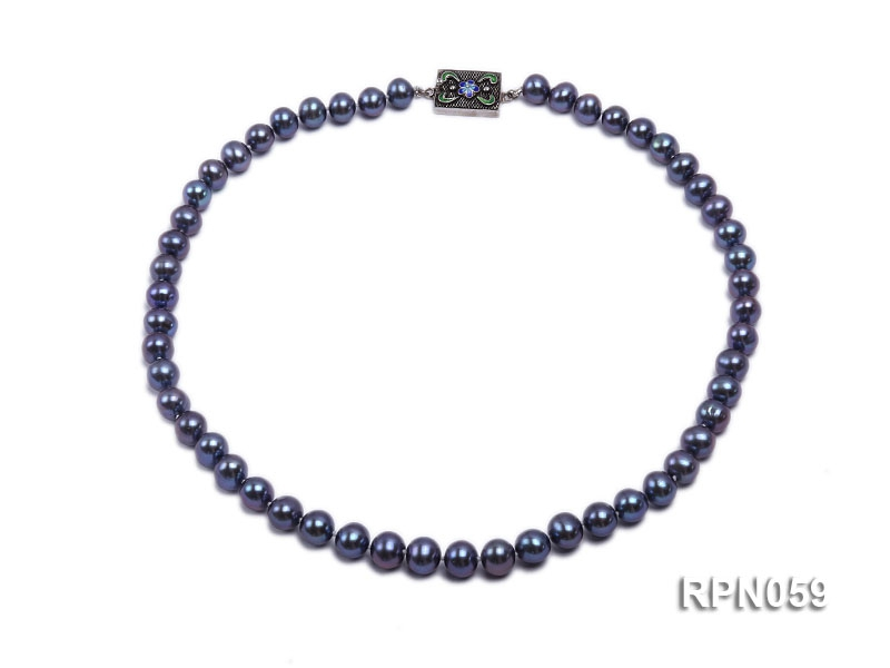 Fashionable Single-strand 8-9mm Peacock Round Freshwater Pearl Necklace