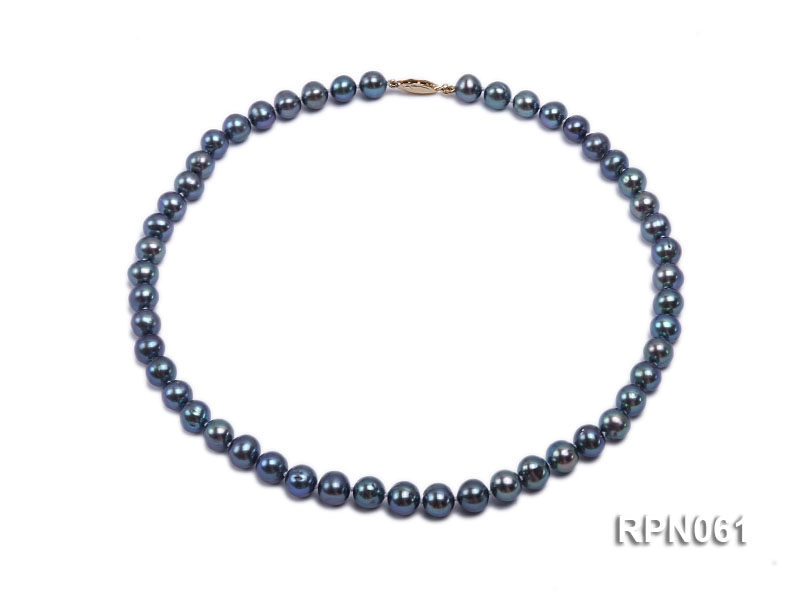 Fashionable Single-strand 8-8.5mm Bluish Black Round Freshwater Pearl Necklace