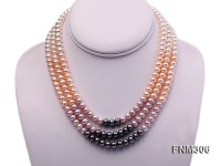 3 strand white,pink and black freshwater pearl necklace with sterling sliver clasp