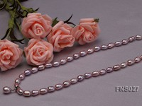 6-7mm natural lavender rice freshwater pearl single necklace with pearl pendant